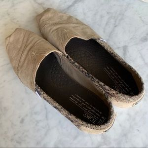 Toms Suede Snakeskin Neutral Shoes 7.5